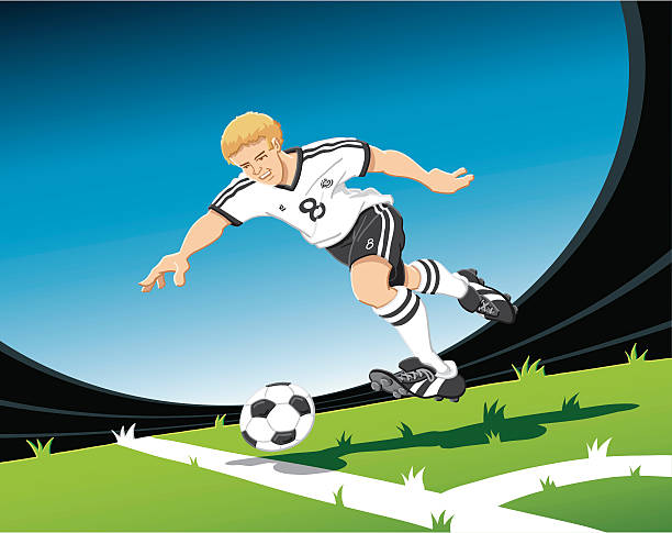 """Sprinting Soccer Player """"Hand-drawn vector illustration of a sprinting soccer player, who is about to shoot the ball. The illustration is on separate layers, so you also can use the soccer player on your own background. The colors in the .eps-file are ready for print (CMYK). Included files: EPS (v8) and Hi-Res JPG."""" running stock illustrations"""