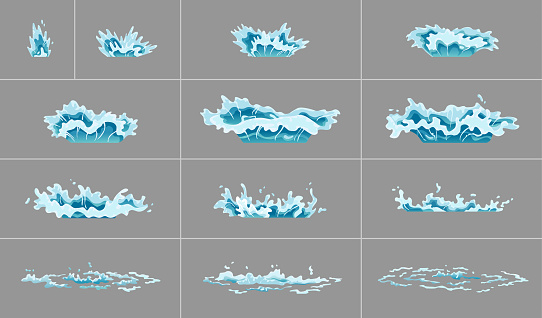 Sprite water splash animation. Shock waves on transparent background. Spray motion, spatter blast, drip. Clear water frames for flash animation in games, video and cartoon
