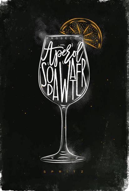 bildbanksillustrationer, clip art samt tecknat material och ikoner med spritz cocktail krita färg - vin sommar fest