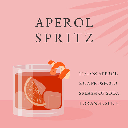 Spritz Cocktail recipe. Classical Summer Alcoholic Beverage in glass with ice and orange slice with tropical palm shadow. Italian aperitif on rocks with citrus peel. Vector flat illustration.