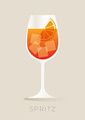 Spritz Cocktail with Orange Slice. stock illustration