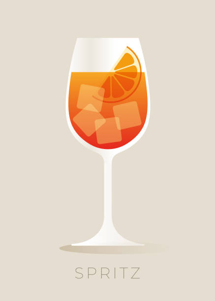 illustrazioni stock, clip art, cartoni animati e icone di tendenza di spritz cocktail with orange slice. - aperitivo