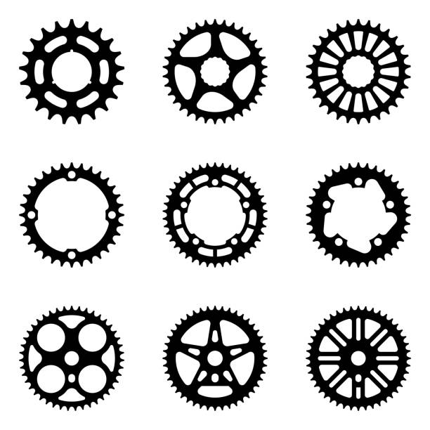 Sprocket wheel icon set. Bicycle parts. Silhouette vector vector illustrations of mechanical transmission parts bicycle chain stock illustrations