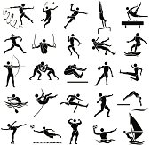 edge style of silhouette sport icon set in white background, vector set