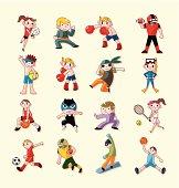 16 cute cartoon sprot icons,vector illustration