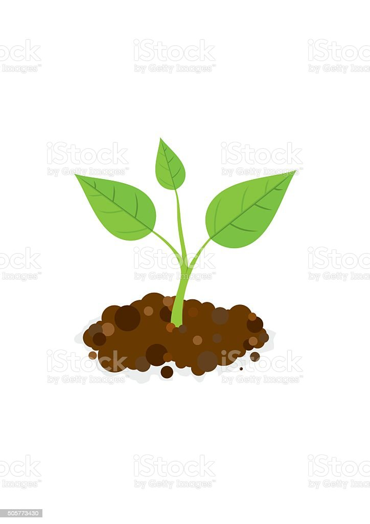 Sprout in the ground. Vector Illustration vector art illustration