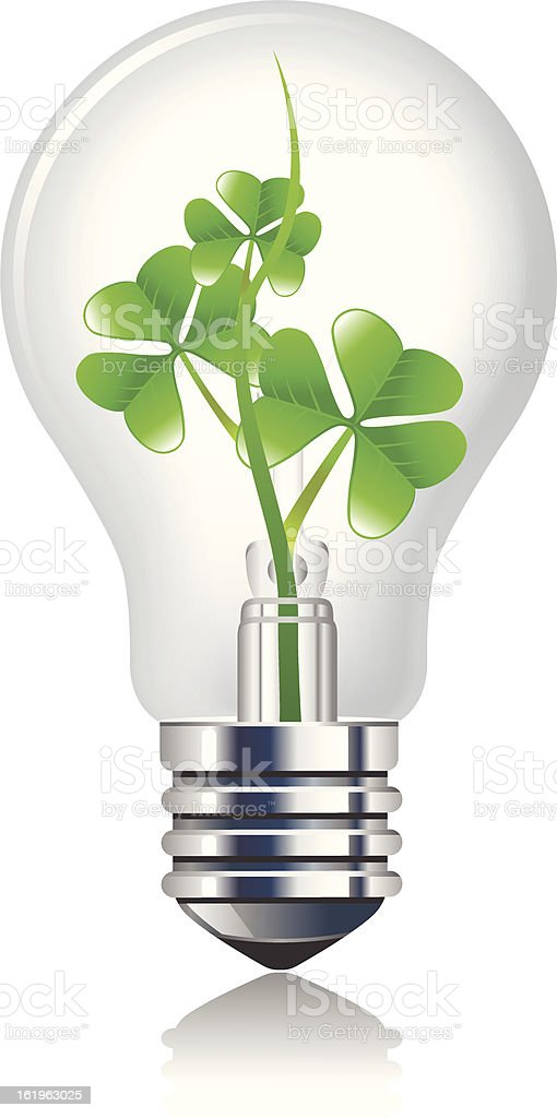 Sprout inside the light bulb royalty-free stock vector art