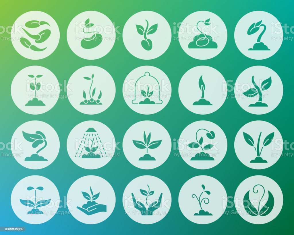 Sprout shape carved flat icons vector set vector art illustration
