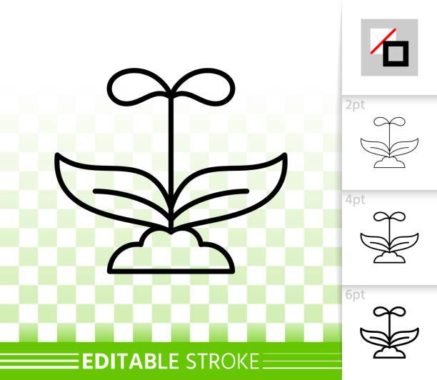 illustrazioni stock, clip art, cartoni animati e icone di tendenza di sprout simple black line vector icon - erba medica