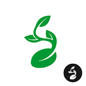 Sprout symbol. One shape style plant with seed and green leaves vector illustration. Black version included.