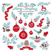 Set of Christmas decorative design elements with needles branches, Christmas toys and ornament. Hand-drawn vector illustrations.