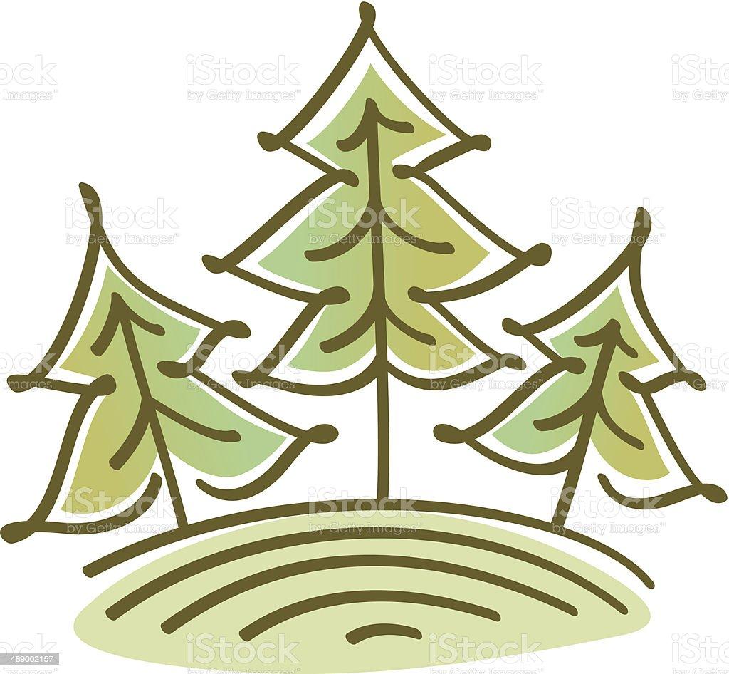 spruce trees on the hill – Vektorgrafik