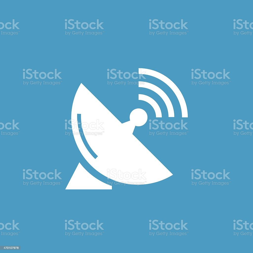 sputnik antenna icon, white on the blue background vector art illustration