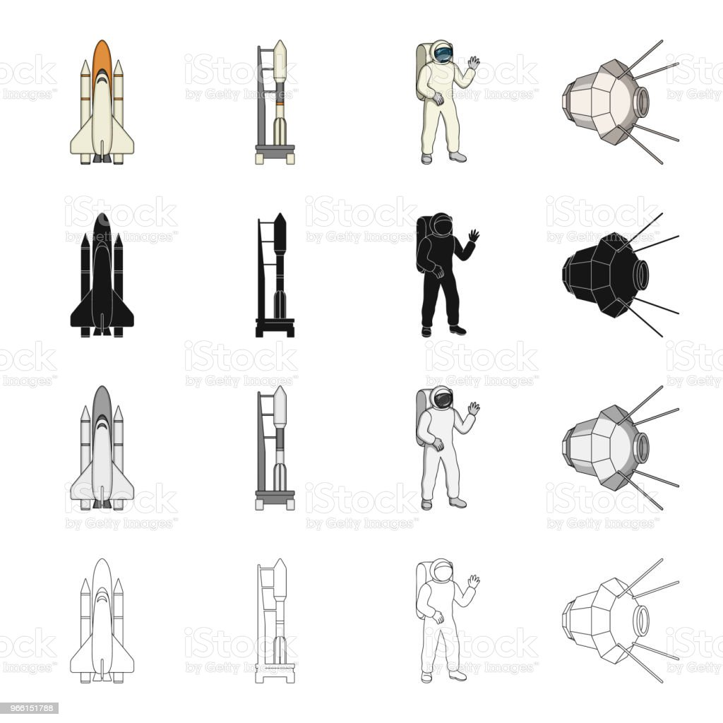 Sputnik, universe, planet, and other web icon in cartoon style.Galaxy, satellite, cosmodrome, icons in set collection. - Векторная графика Астронавт роялти-фри