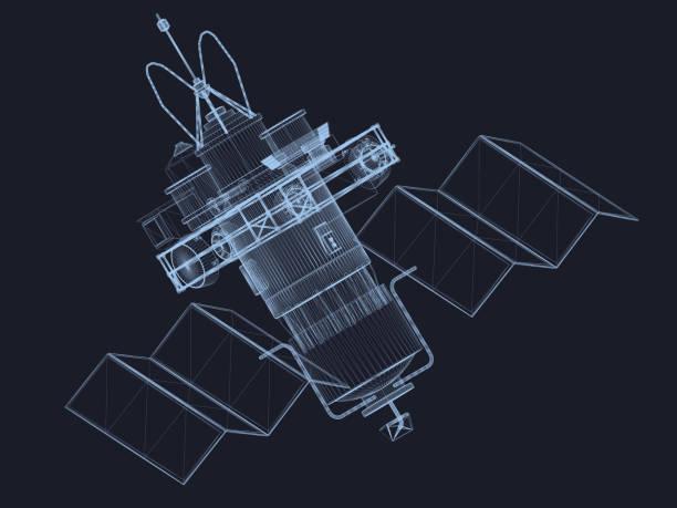 ilustrações de stock, clip art, desenhos animados e ícones de sputnik - wireframe solar power