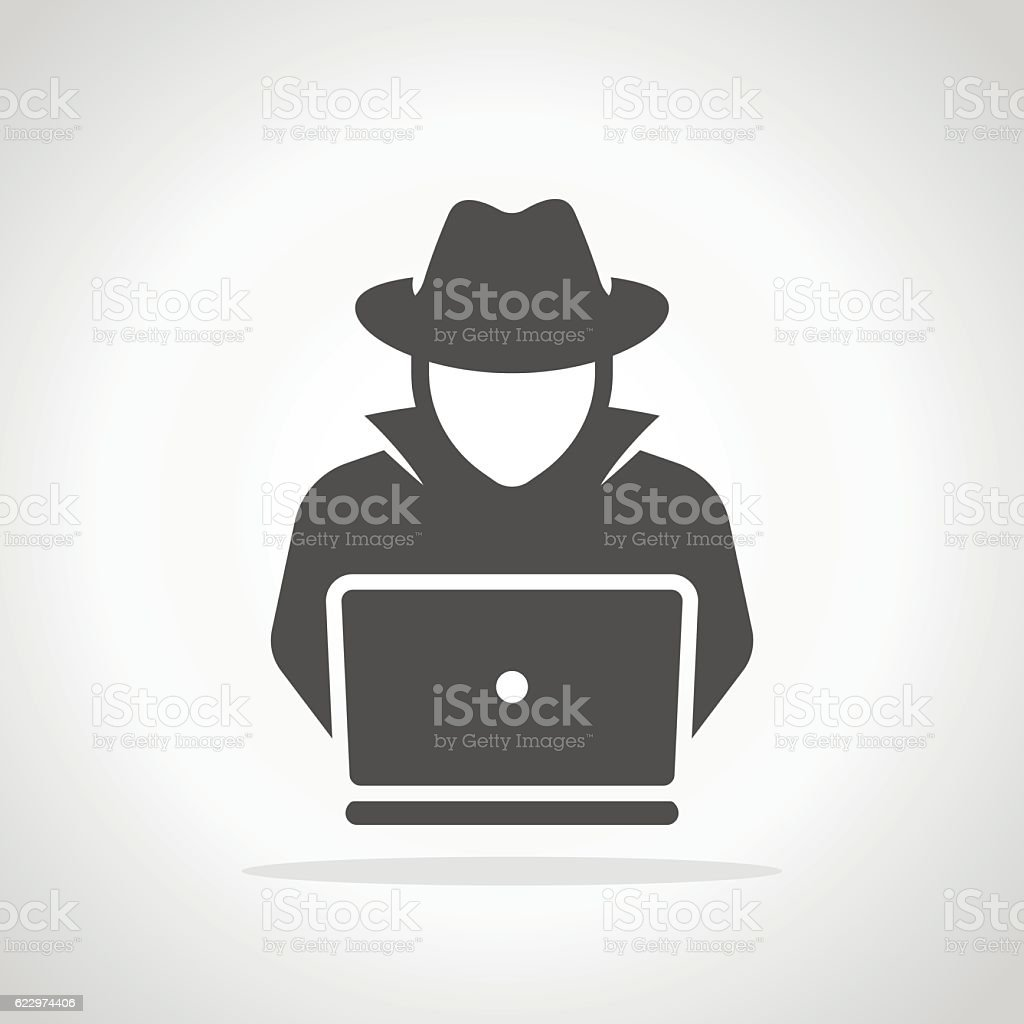 Spy agent searching on laptop. Hacker vector art illustration