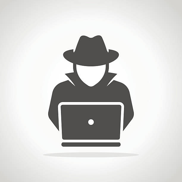 Spy agent searching on laptop. Hacker Spy agent searching on laptop. Hacker hacker stock illustrations