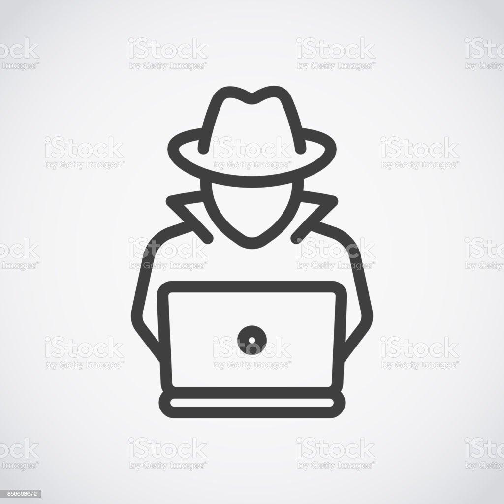 Spion Agenten auf Laptop suchen. Hacker – Vektorgrafik