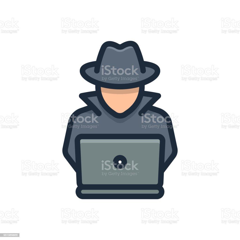 Agente Spy busca en portátil. Hacker - ilustración de arte vectorial