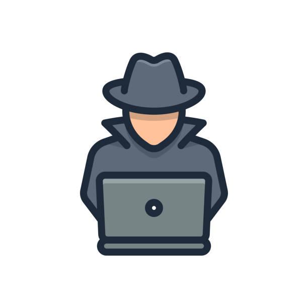 ilustraciones, imágenes clip art, dibujos animados e iconos de stock de agente spy busca en portátil. hacker - robo de identidad