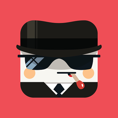 Spy avatar illustration. Trendy emissary squared icon with shadows in