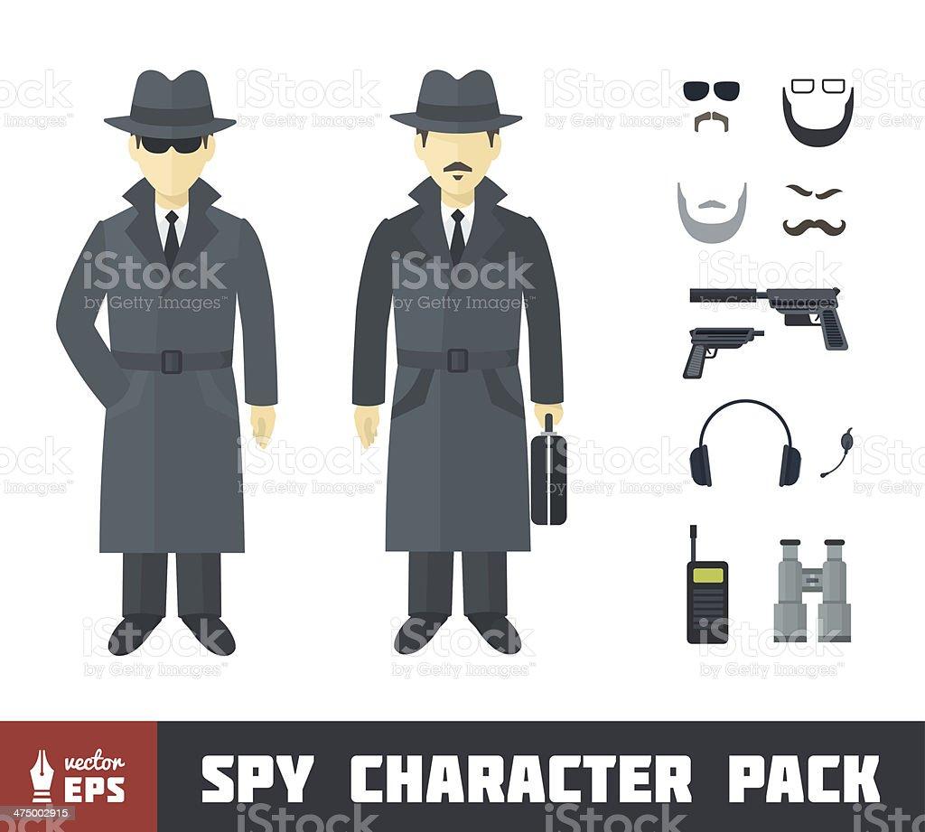 Spy Character Pack vector art illustration