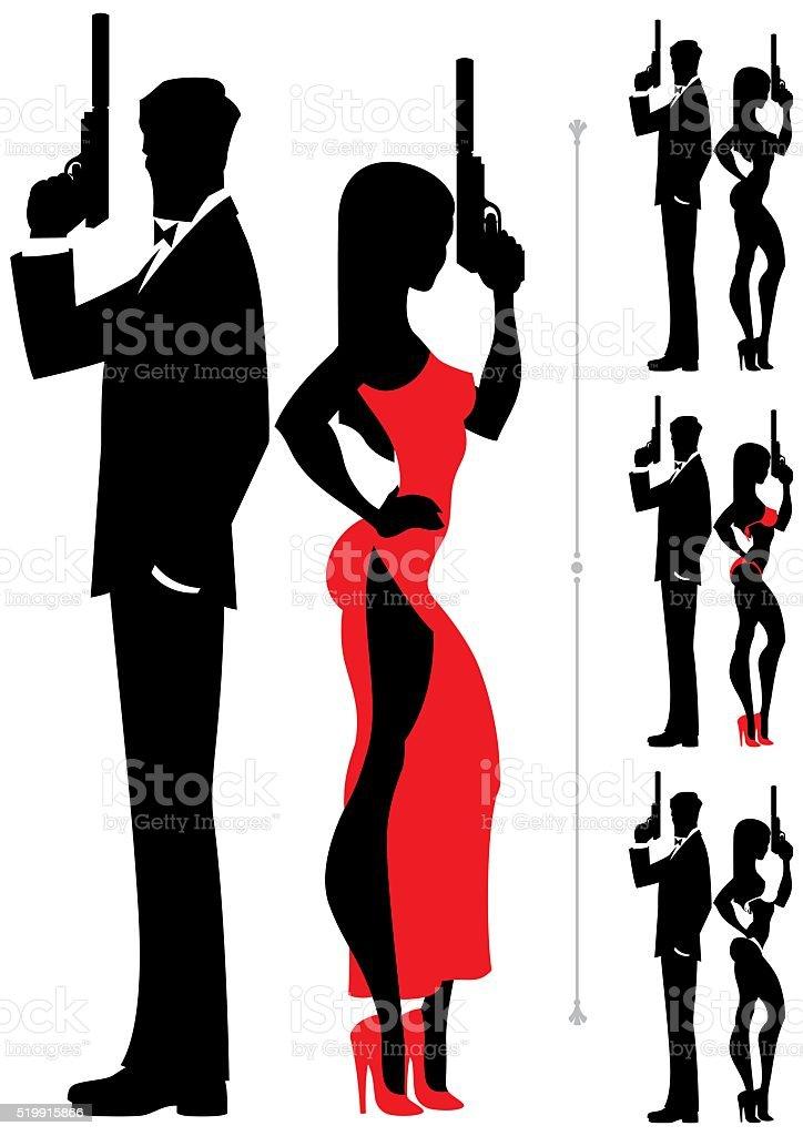 Spy Couple 3 vector art illustration