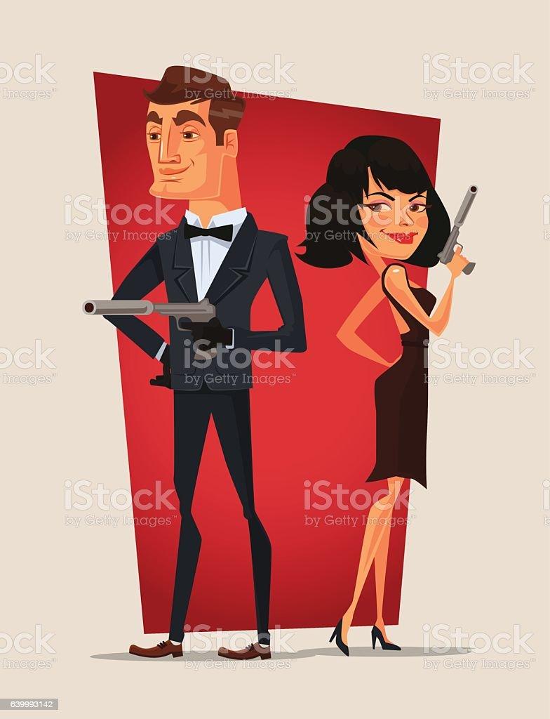 Spy couple characters. Vector flat cartoon illustration vector art illustration