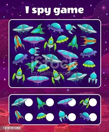 Yo juego de espionaje con naves espaciales, acertijo vectorial de los niños