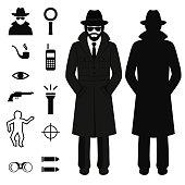 vector spy icon, detective cartoon man, crime illustration
