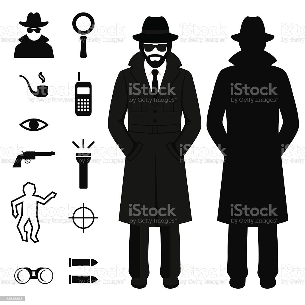 spy icon, detective cartoon man vector art illustration