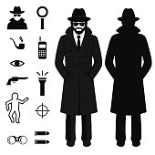 spy icon, detective cartoon man