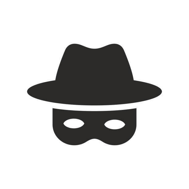 Spy icon. Vector icon isolated on white background. hacker stock illustrations