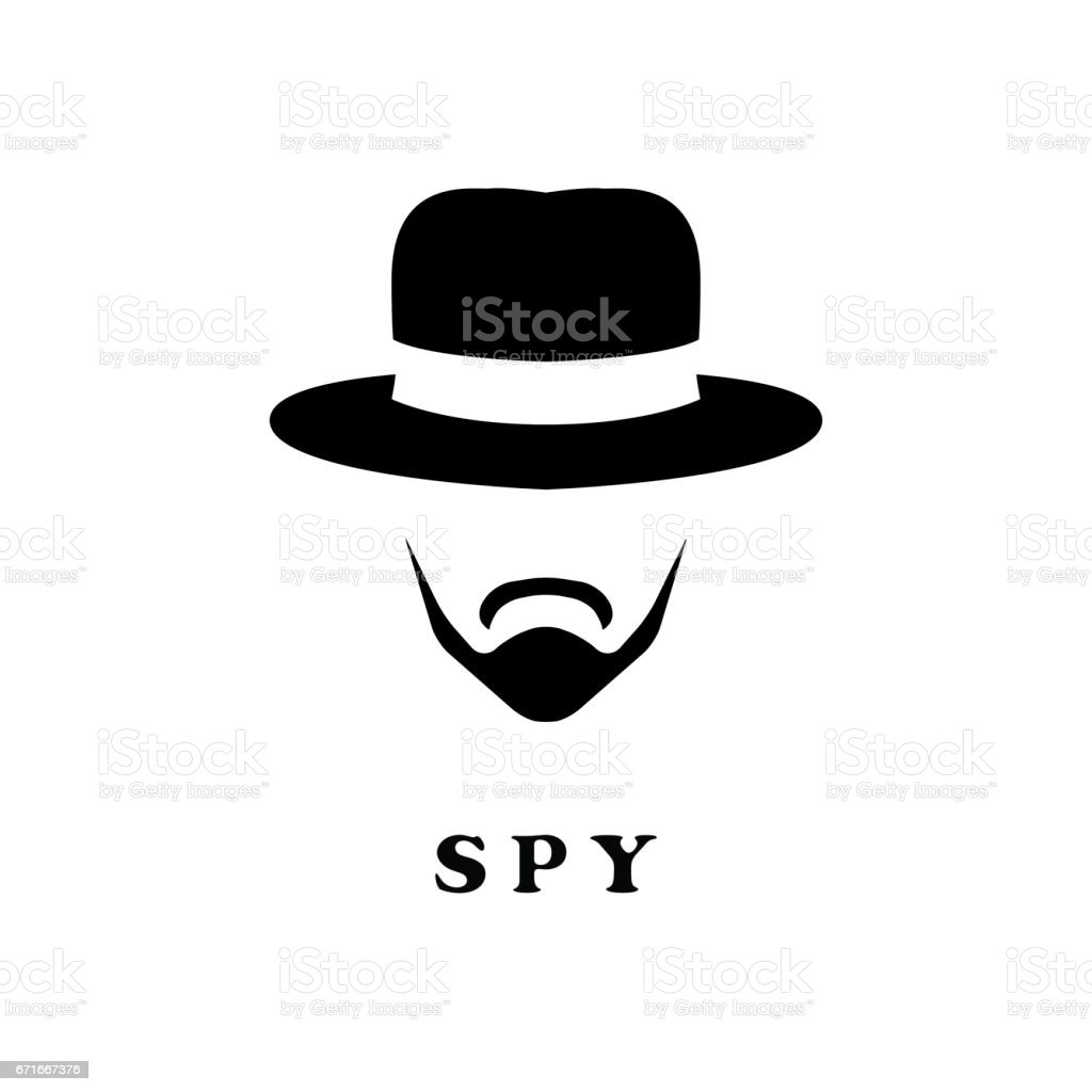 Spy man in hat and with a mustache. vector art illustration