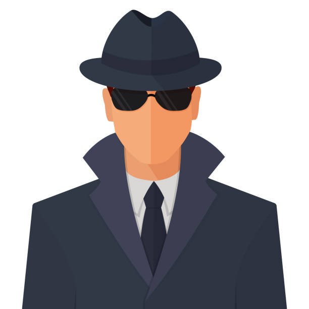 Spy Secret Agent Flat Vector Concept Illustration Spy secret agent man character in sunny glasses, hat and raincoat flat style cartoon vector colorful illustration icon isolated on white background. surveillance stock illustrations