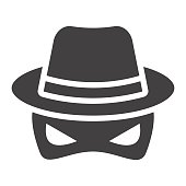Spy solid icon, incognito and agent, vector graphics, a glyph pattern on a white background, eps 10.