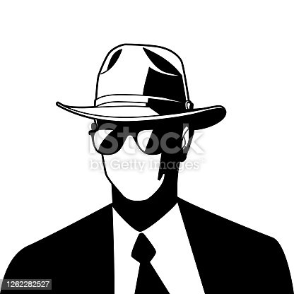 Vector Illustration of a Man Wearing Fedora and Dark Sunglasses