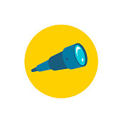 Spyglass. Icon on background yellow circle. Watch search look for. Favicon for website or search results page. Flat color vector illustration