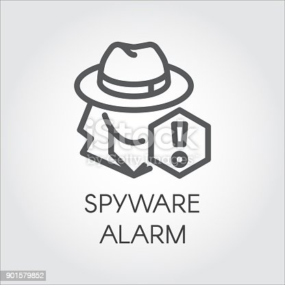istock Spyware alarm icon in line design. Abstract human figure in hat and exclamation mark contour pictograph Spy outline sign 901579852