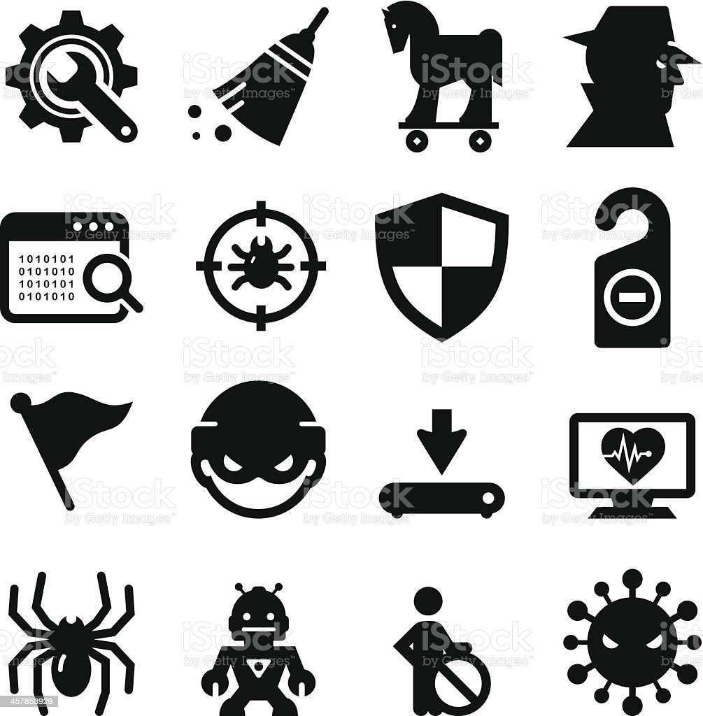 Spyware and Malware Icons - Black Series vector art illustration