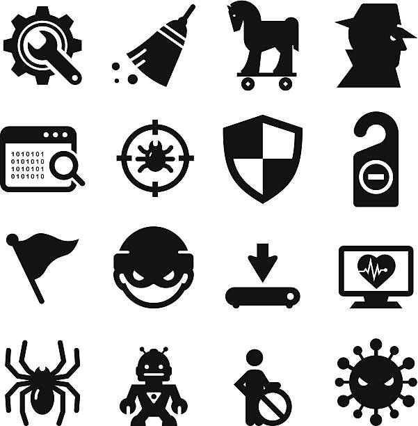 Spyware and Malware Icons - Black Series Professional clip art for your print or Web project. See more icons in this series. inconvenience stock illustrations