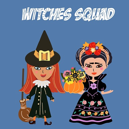A squad of cute witches, Happy Halloween, two witches, pumpkin with a bouquet, blooming, sunflowers; roses, trick or treat, witchcraft