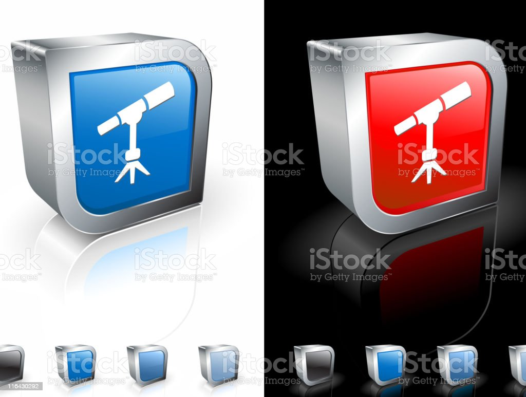 Square 3-D buttons with telescope icon and metallic border. vector art illustration