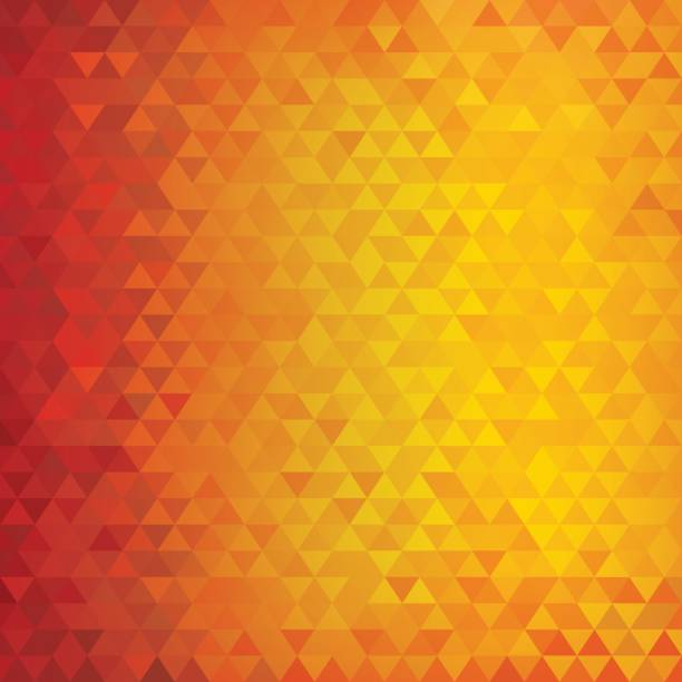 Square abstract triangles geometric background - Red, Orange, Yellow vector art illustration