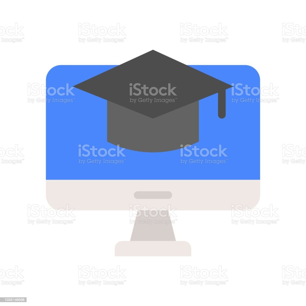 square academic cap on computer screen, e-learning concept icon vector art illustration