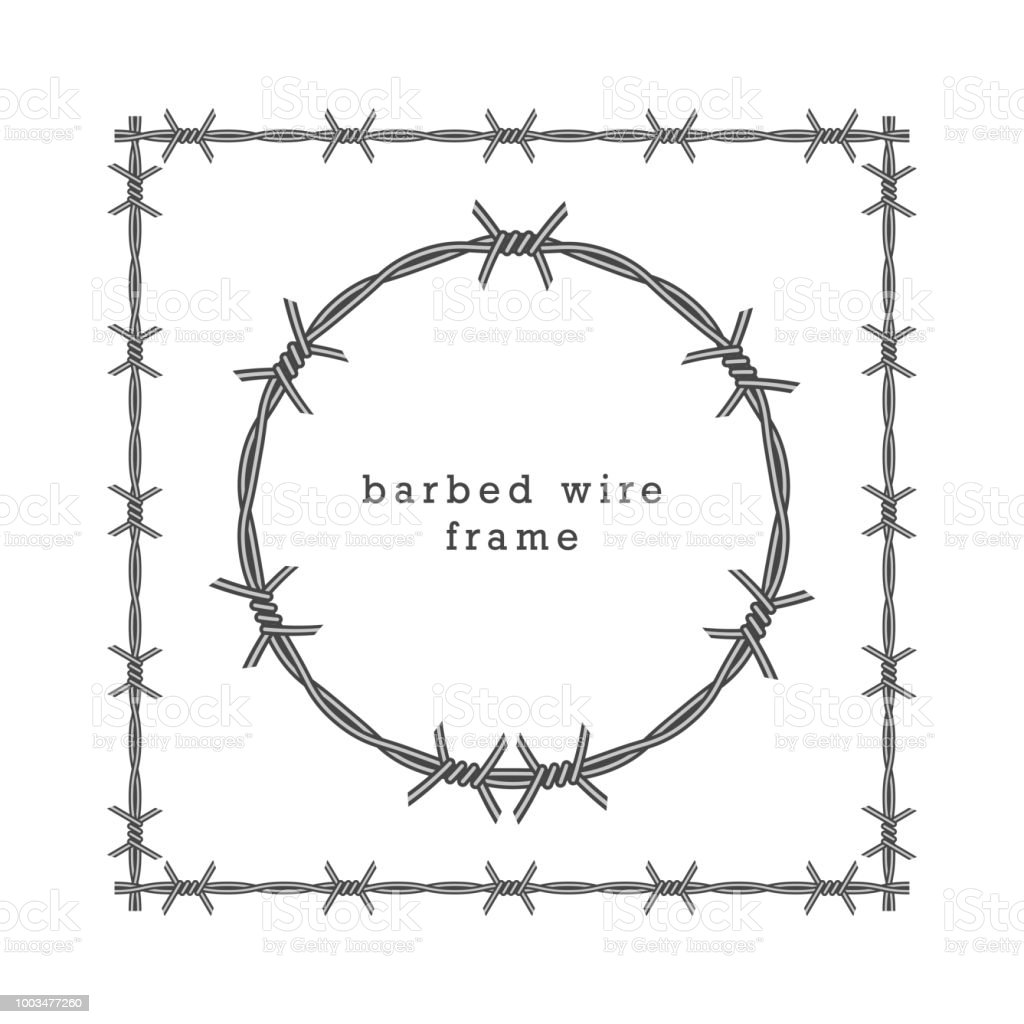 Square And Circle Barbed Wire Frames Vector Illustration Stock ...