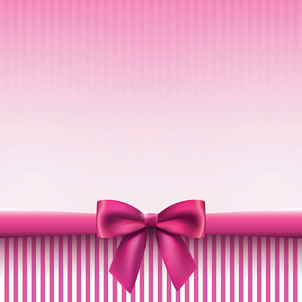 Square background with a satin bow in pink colors vector art illustration