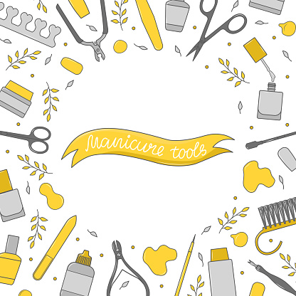 Square background with manicure equipment. Hand-drawn banner with various nail art tools - scissors, nail polish, brush, cuticle tongs, pusher, point pen. Colorful vector illustration.