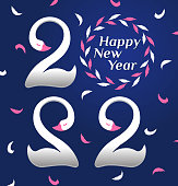 istock Square banner 2022 with enamored swans on blue background with pink and white feathers 1340098500