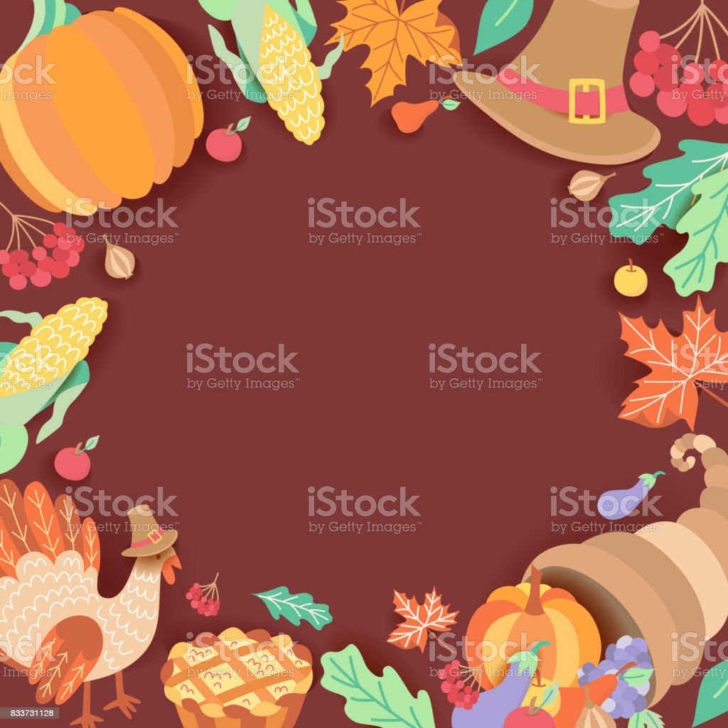 Square Banner Frame With Thanksgiving Symbols Stock Vector Art